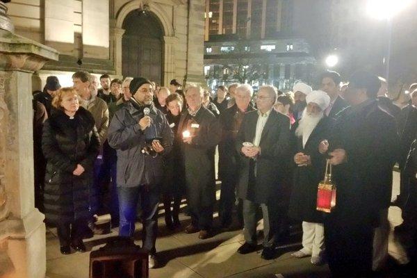 Bham vigil outdoor public action with speaker