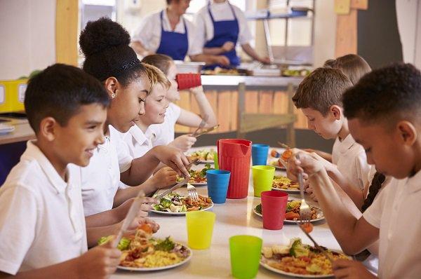 Children eating free school meals