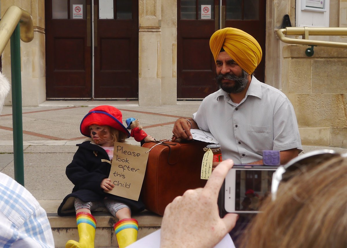 Sikh member child dressed as paddington portrait