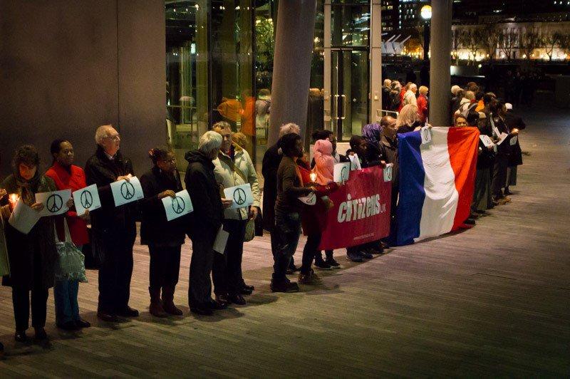 Outdoor Paris vigil
