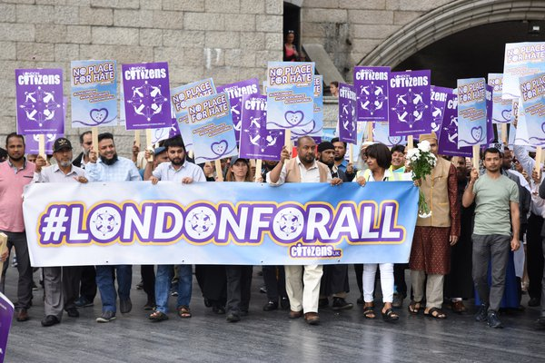 Public protest with banners at London Bridge for Refugees Welcome