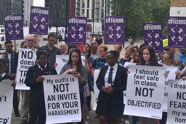 Public protest with students for misogyny as a hate crime