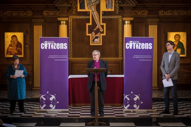Peter Hill speaking at London Citizens event