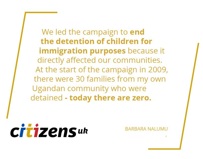 Barbara Nalumu, Citizens UK leader, Child Detention