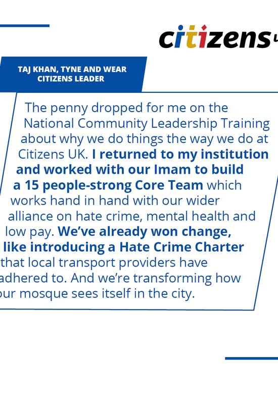 Taj Khan quote, Tyne & Wear Citizens, training