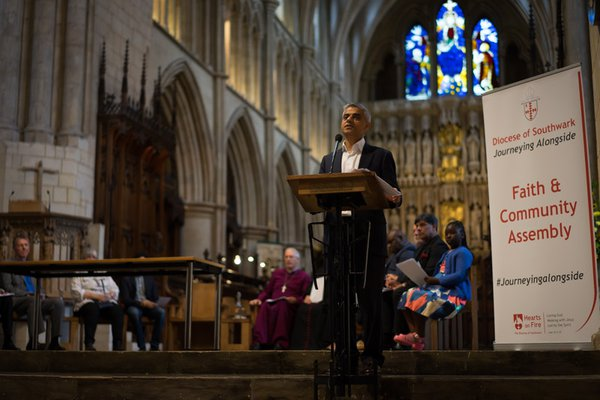 Sadiq Khan giving speech at Faith and Community Assembly in Diocese of Southwark