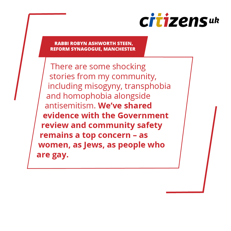 Quote from Citizens UK leader Rabbi Robyn Ashworth on hate crime